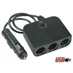 MULTIPRISE ALLUME-CIGARES 3 SORTIES USB - 12 V
