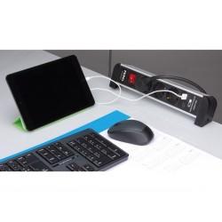BLOC MULTIPRISES DE BUREAUX AVEC 3 PRISES ET ALIMENTATION USB - 2 PORTS - 2.1 A