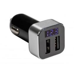 CHARGEUR DE VOITURE AVEC DOUBLE CONNEXION USB ET AFFICHEUR (5 VCC - 2.1 A) - 10 W max.