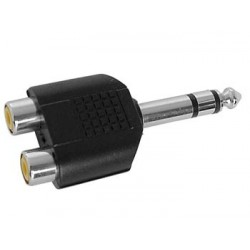 DOUBLE RCA FEMELLE VERS JACK MALE 6.35mm STEREO