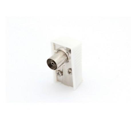 FICHE COAX FEMELLE COUDEE 9.5mm/2.3mm - BLANC