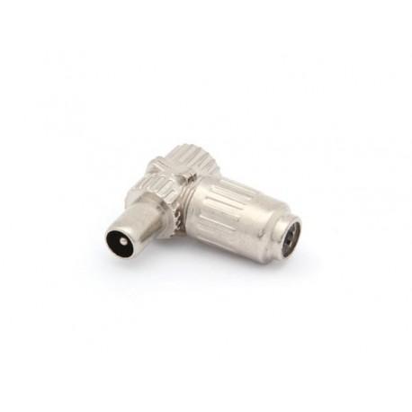 FICHE COAX MALE COUDEE 9.5mm/2.3mm - METALLIQUE