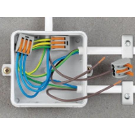 BORNE DE CONNEXION 2 x 0.08-4mm POUR CONDUCTEURS SOUPLES OU RIGIDES/GRIS