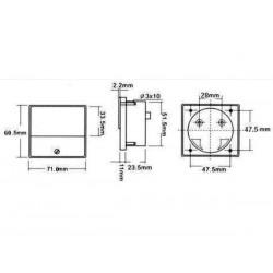 VOLTMETRE ANALOGIQUE DE TABLEAU 30V CC / 70 x 60mm