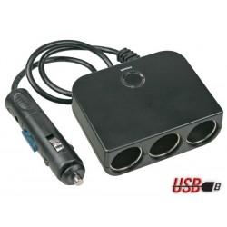 MULTIPRISE ALLUME-CIGARES 3 SORTIES USB - 12 V