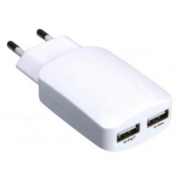 CHARGEUR COMPACT AVEC CONNEXION USB 5 V - 3.1 A (2.1 1 A) - BLANC