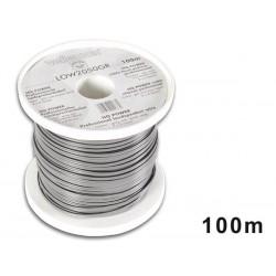CABLE HAUT-PARLEUR - GRIS/BANDE NOIRE - 2 x 0.50mm² - 100m