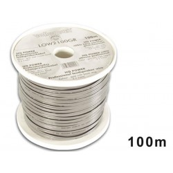 CABLE HAUT-PARLEUR - GRIS/BANDE NOIRE - 2 x 1.00mm² - 100m