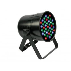 PRO LED PROJECTEUR PAR64 - MODELE COURT - NOIR - DOUBLE SUPPORT - 39 x 1W LED