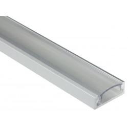 PROFILE EN ALUMINIUM POUR FLEXIBLES LED - PLAT / LARGE - DIFFUSEUR TRANSPARENT - 2 m
