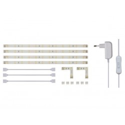 RUBANS A LEDS FLEXIBLES ET ALIMENTATION EN KIT - BLANC CHAUD - 4 x 30 cm - 12 Vcc