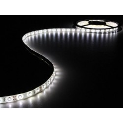ENSEMBLE DE BANDE A LED FLEXIBLE ET ALIMENTATION - BLANC FROID - 300 LED - 5 m - 12Vcc - SANS REVETEMENT