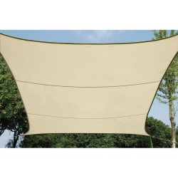 VOILE SOLAIRE PERMEABLE - CARRE - 5 x 5 m - COULEUR : CHAMPAGNE
