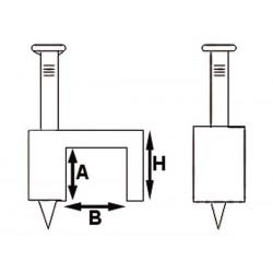 CLIP DE FIXATION PLAT. BLANC. 8 mm (100 pcs/boite)