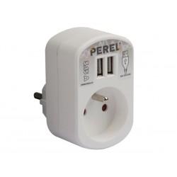 SIMPLE PRISE ELECTRIQUE AVEC 2 PORTS USB - 3.15 A - BLANC