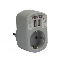 SIMPLE PRISE ELECTRIQUE AVEC 2 PORTS USB - 3.15 A - GRIS