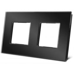 double plaque de recouvrement en verre pour BTicino® LivingLight. noir