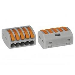 BORNE DE CONNEXION 5 x 0.08-4mm POUR CONDUCTEURS SOUPLES OU RIGIDES/GRIS (10 pièces)